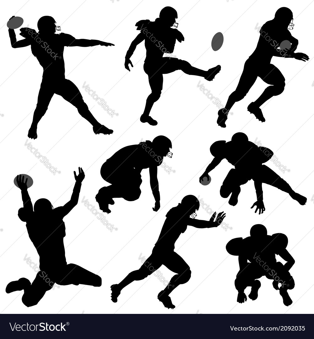 Silhouettes american football players vector | Price: 1 Credit (USD $1)