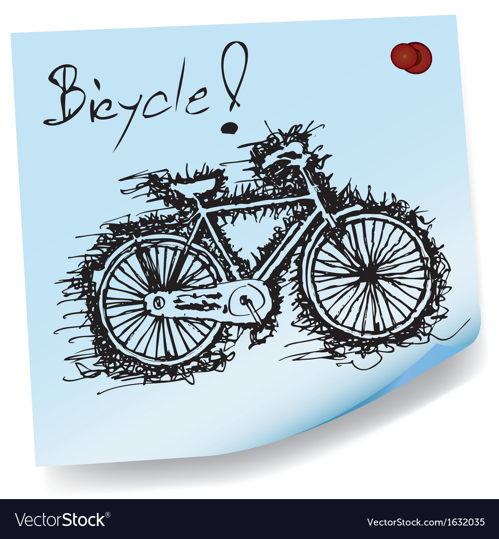Sketch drawing of bicycle on sticky paper vector | Price: 1 Credit (USD $1)