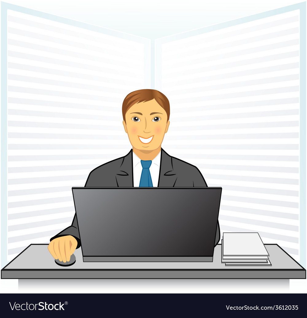 Young man in business office vector   Price: 1 Credit (USD $1)