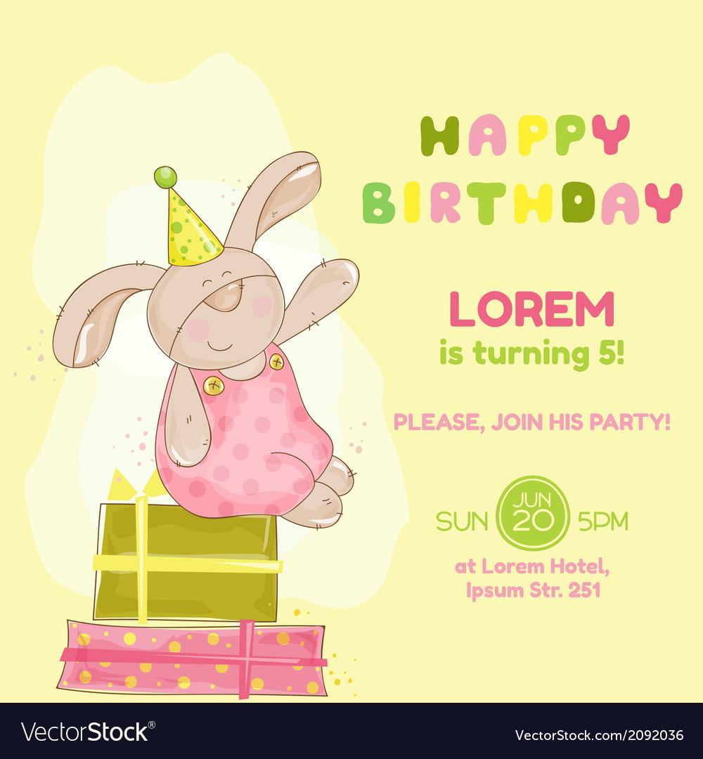 Baby bunny birthday card vector | Price: 1 Credit (USD $1)