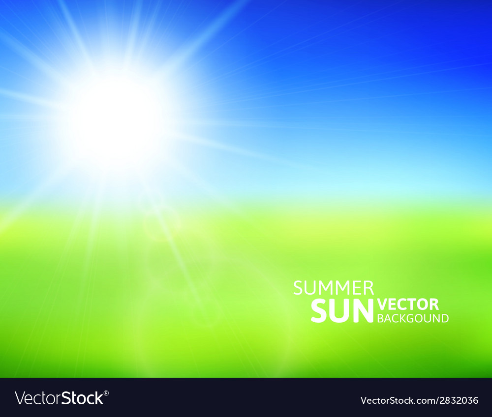 Blurry green field and blue sky with summer sun vector | Price: 1 Credit (USD $1)
