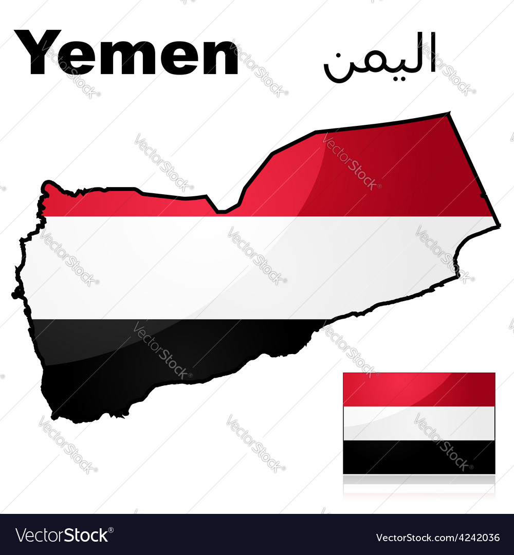 Flag and map of yemen vector | Price: 1 Credit (USD $1)