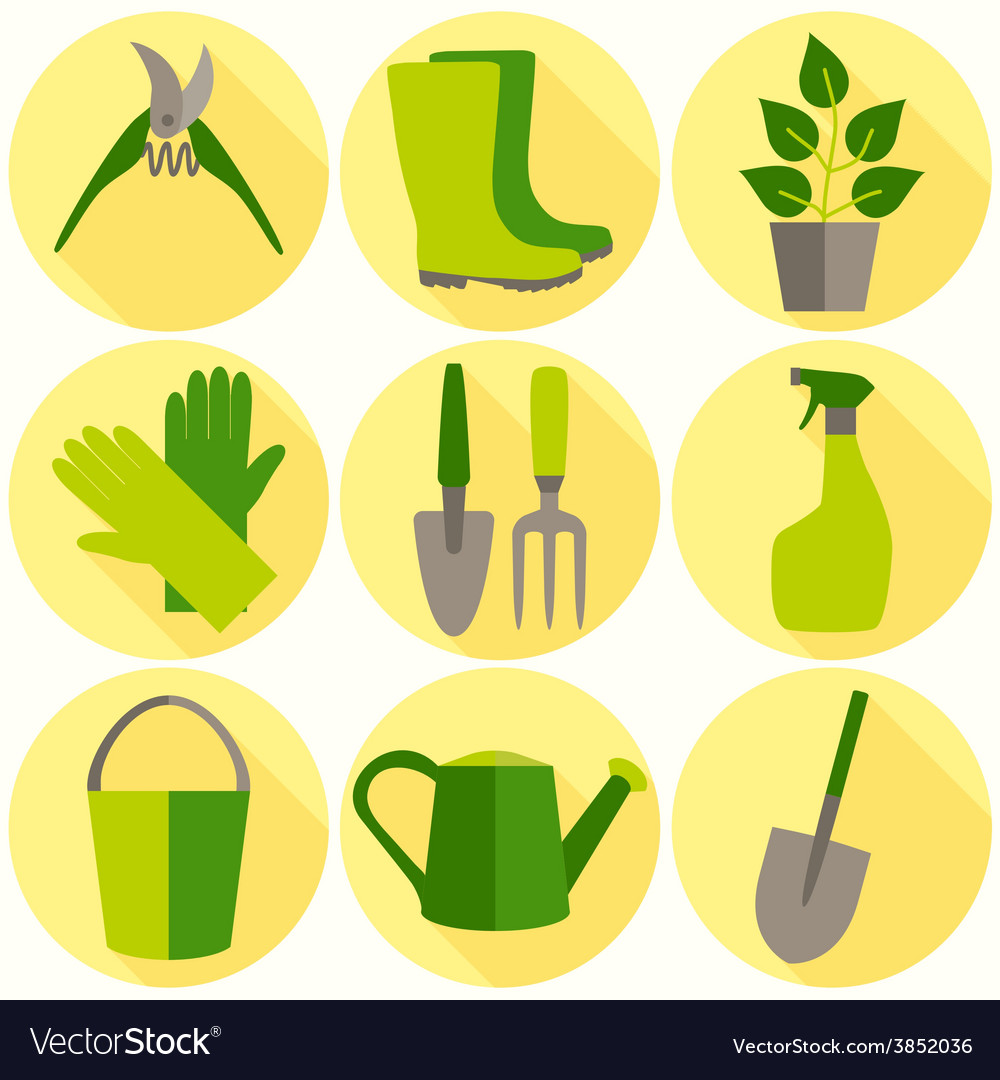 Flat design set of gardening tool icons isolated vector | Price: 1 Credit (USD $1)