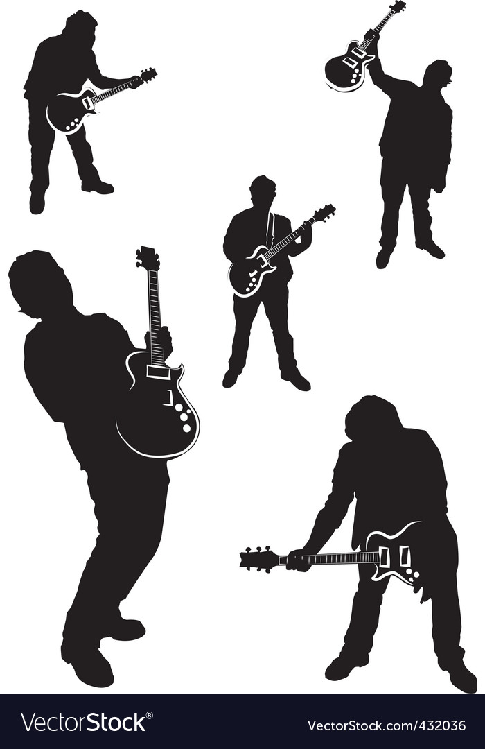 Guitar player silhouette set vector | Price: 1 Credit (USD $1)