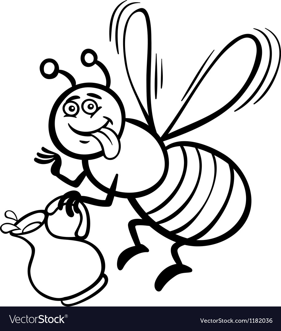 Honey bee cartoon for coloring book vector | Price: 1 Credit (USD $1)
