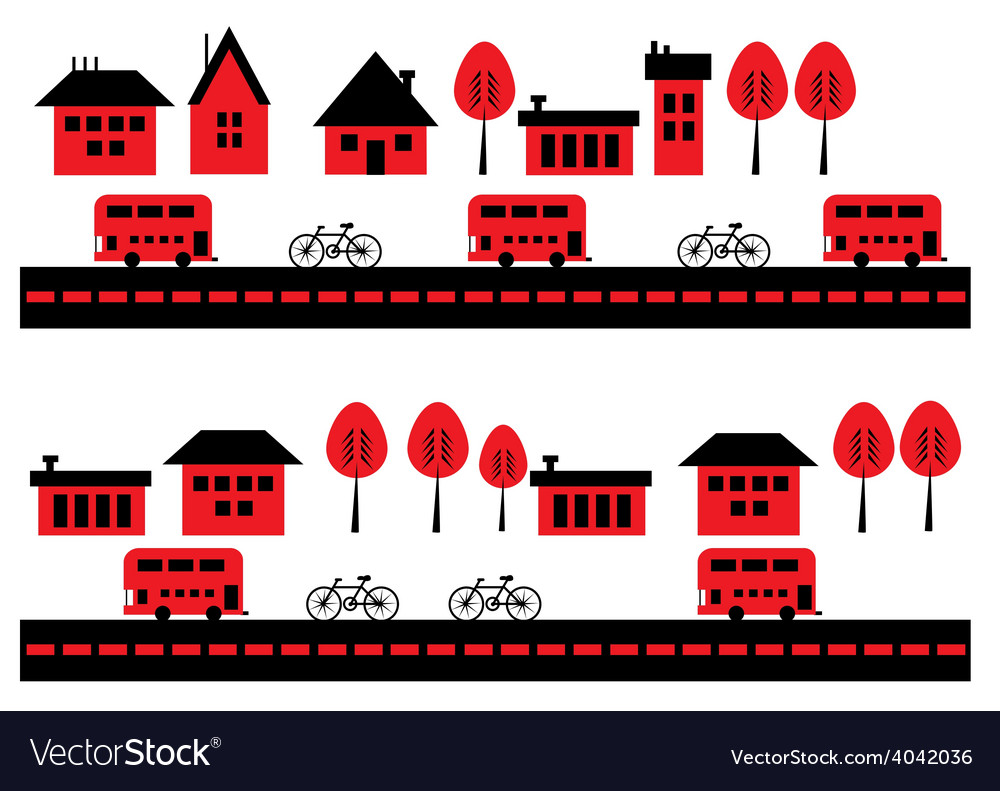 Houses bicycles and buses vector | Price: 1 Credit (USD $1)