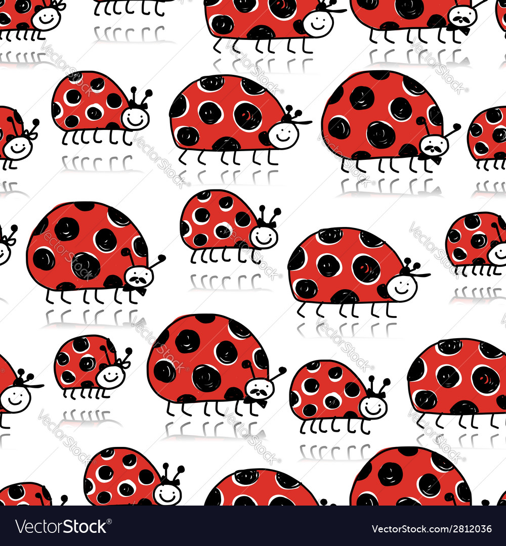 Ladybird family seamless pattern for your design vector | Price: 1 Credit (USD $1)