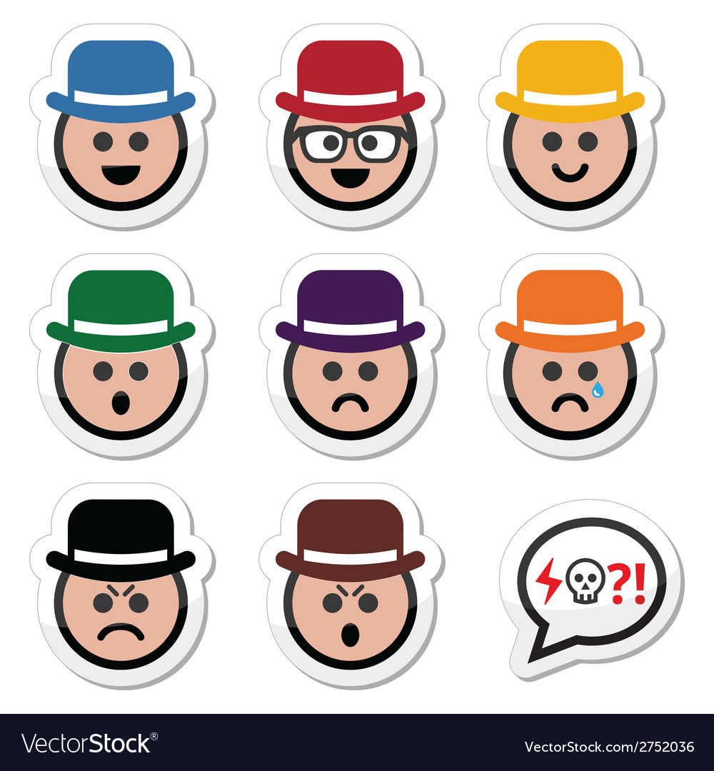 Man in hat faces icons set vector | Price: 1 Credit (USD $1)