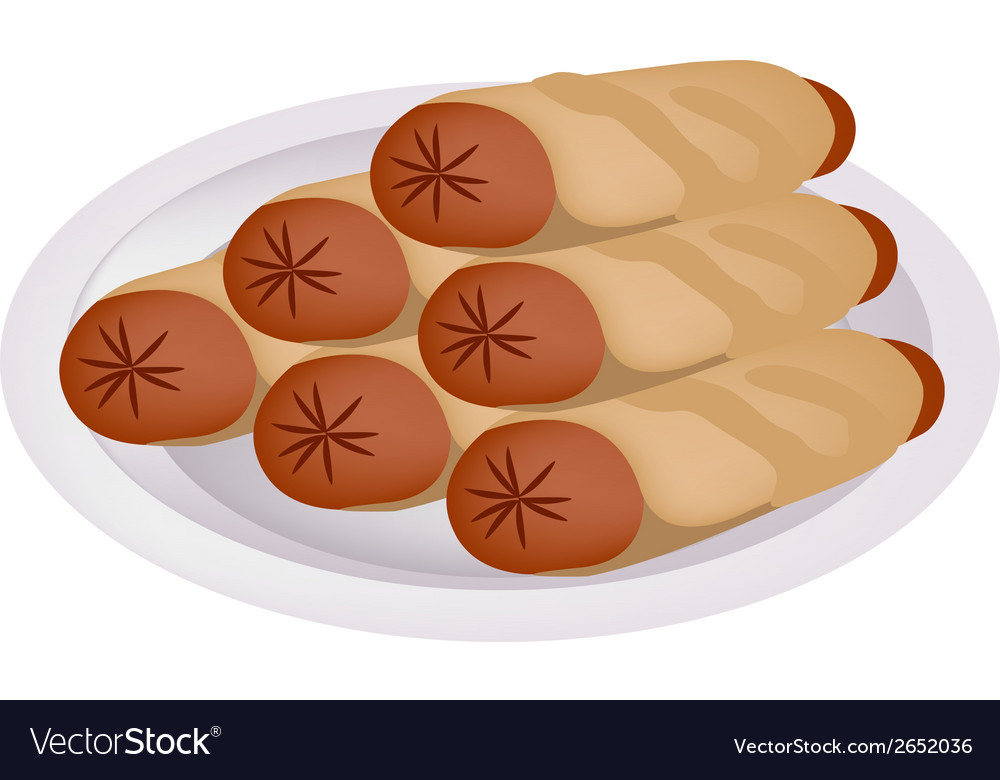 Pile of sausage pancake on a plate vector | Price: 1 Credit (USD $1)