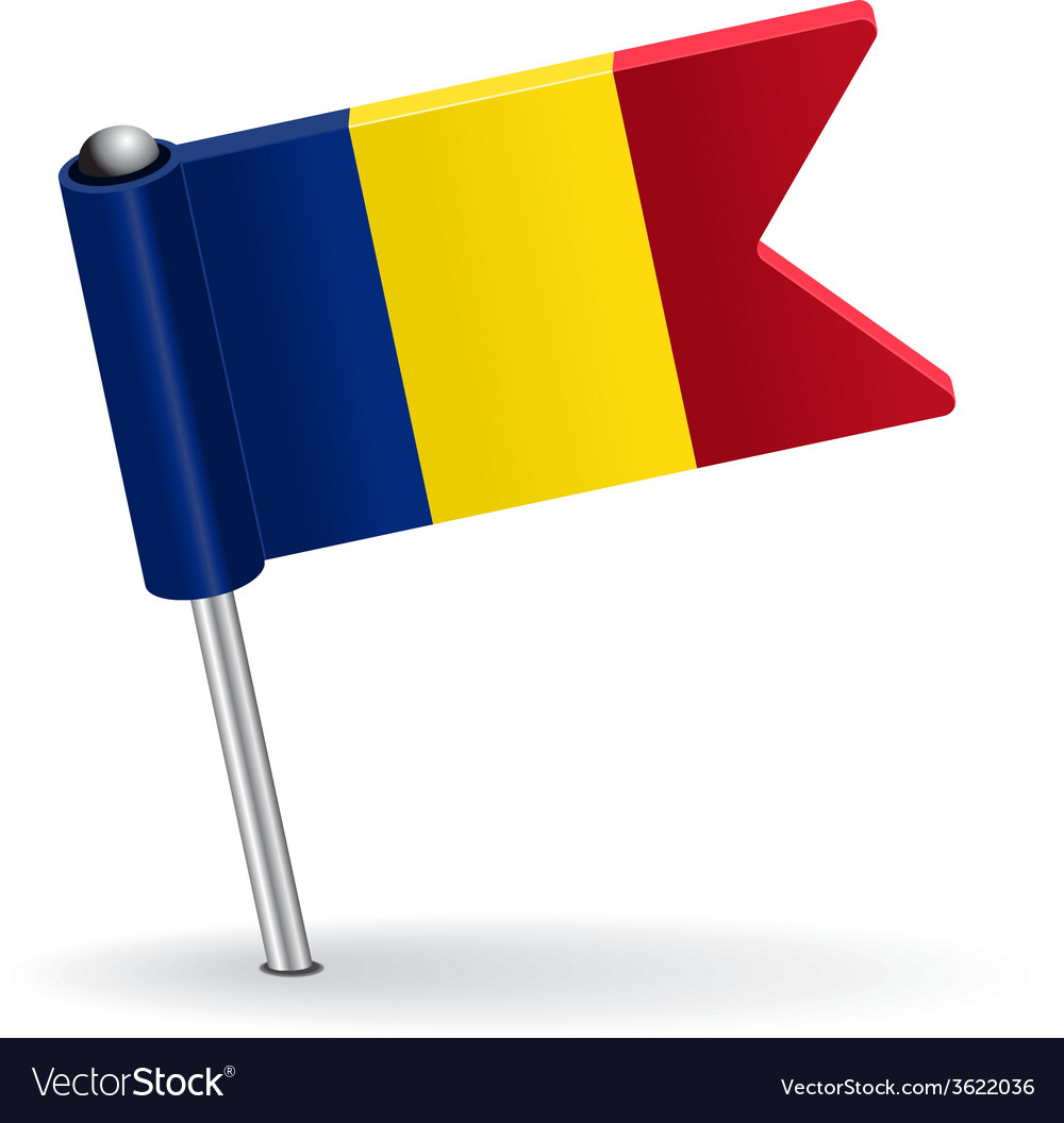 Romanian pin icon flag vector | Price: 1 Credit (USD $1)