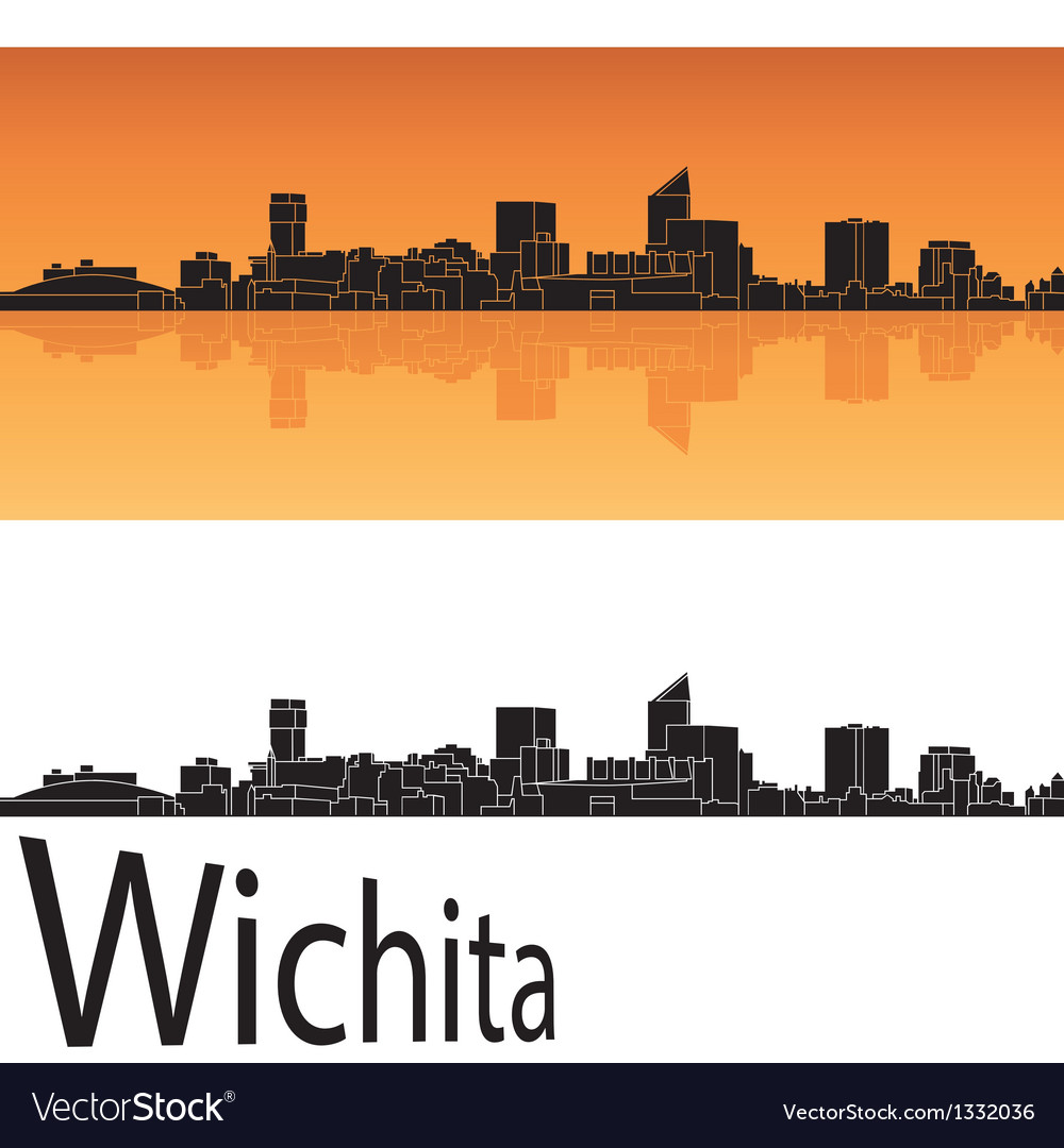 Wichita skyline in orange background vector | Price: 1 Credit (USD $1)