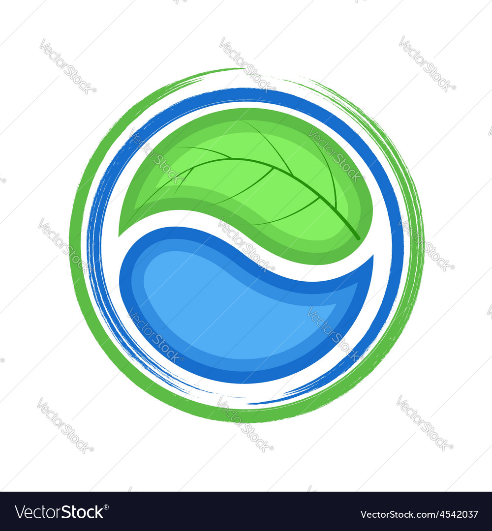 Eco logo green leaf and blue drop water ecology vector | Price: 1 Credit (USD $1)