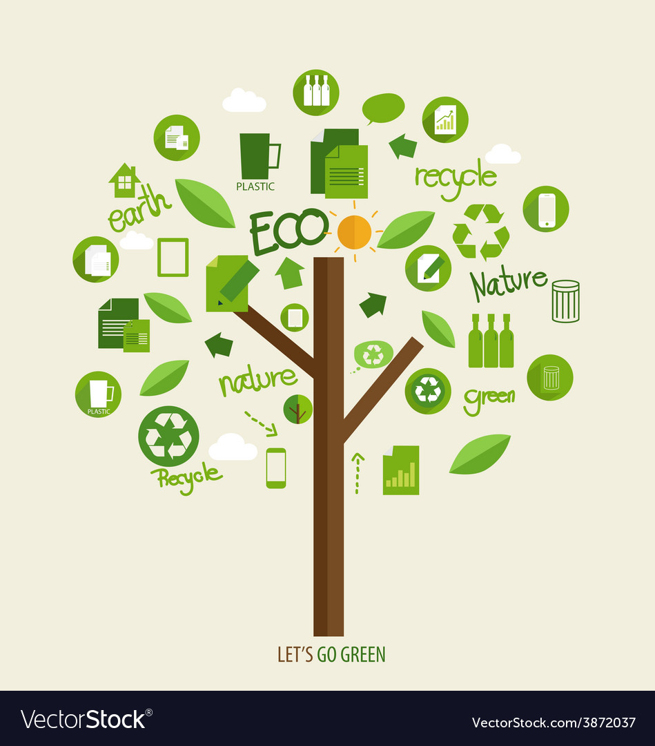Ecology concept tree with icons vector | Price: 1 Credit (USD $1)