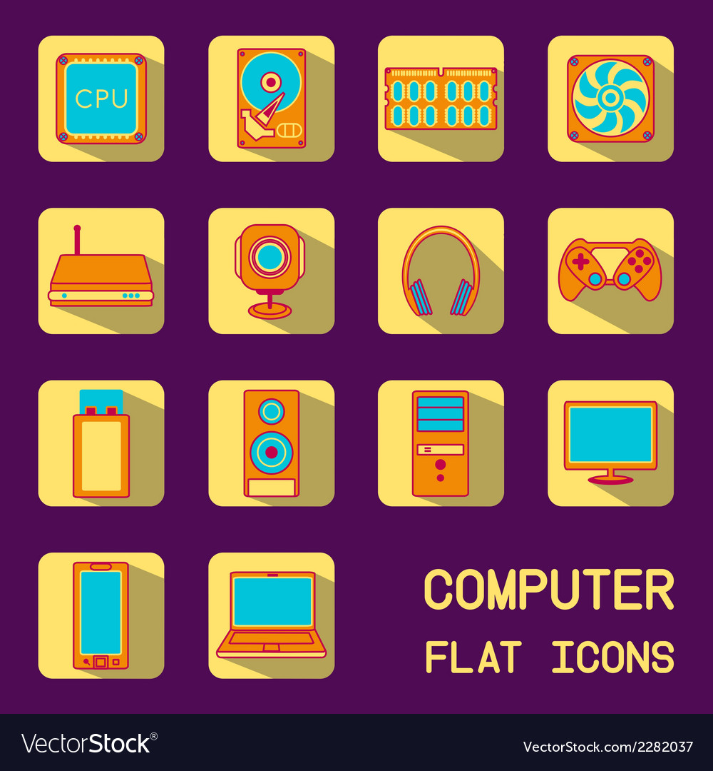 Flat computer icons vector | Price: 1 Credit (USD $1)