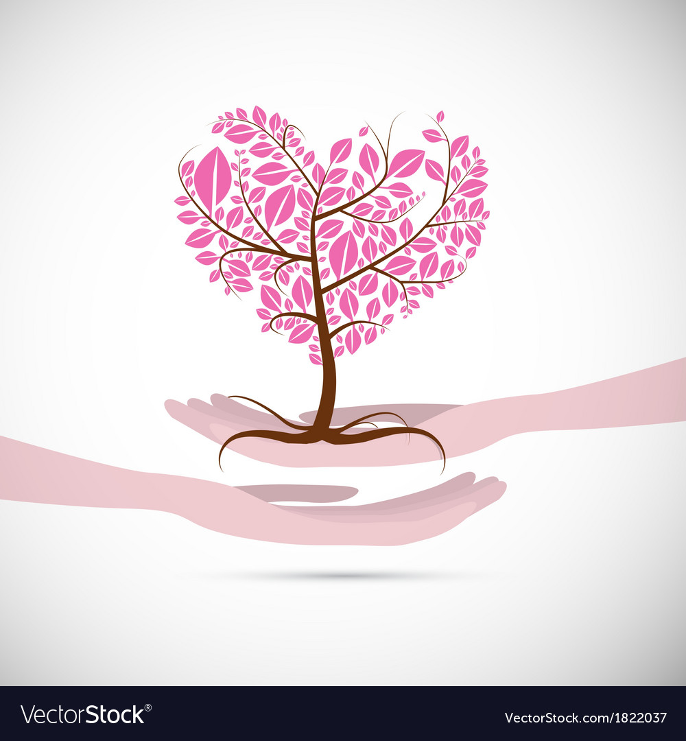 Heart shaped abstract pink tree in human hands vector | Price: 1 Credit (USD $1)