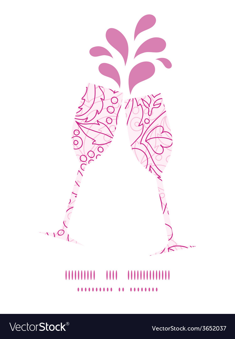 Pink flowers lineart toasting wine glasses vector | Price: 1 Credit (USD $1)