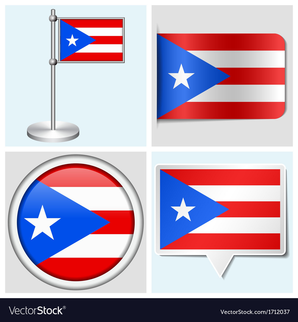 Puerto rico flag - sticker button label vector | Price: 1 Credit (USD $1)