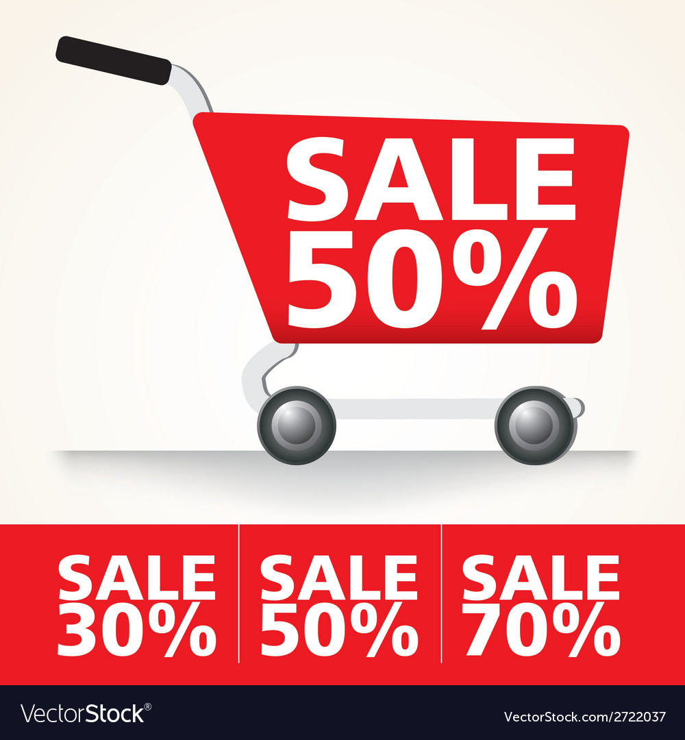 Sale cart set vector | Price: 1 Credit (USD $1)