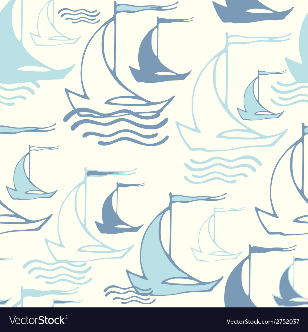 Seamless pattern with decorative sailing ships on vector | Price: 1 Credit (USD $1)