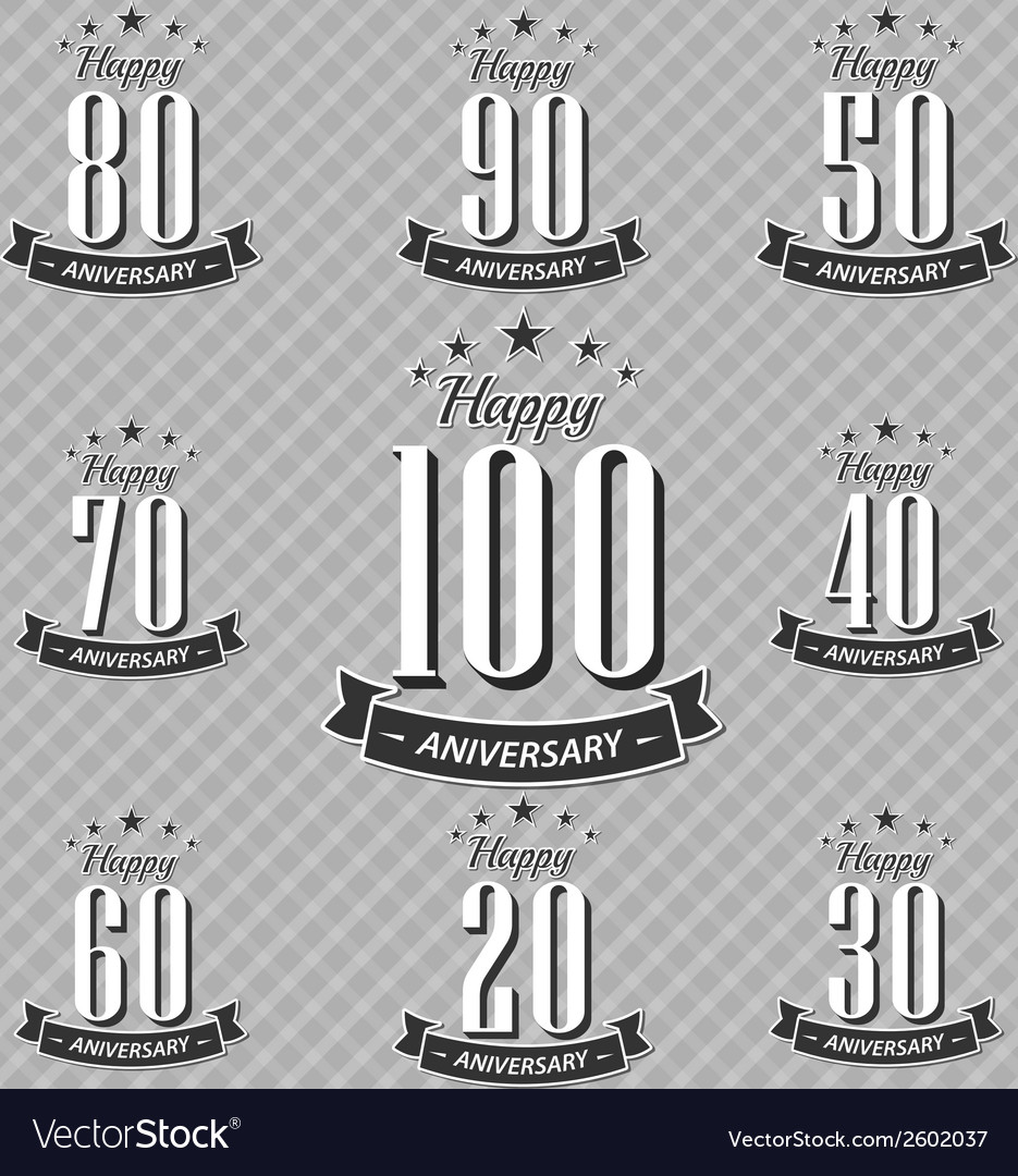Set of retro vintage style anniversary vector | Price: 1 Credit (USD $1)