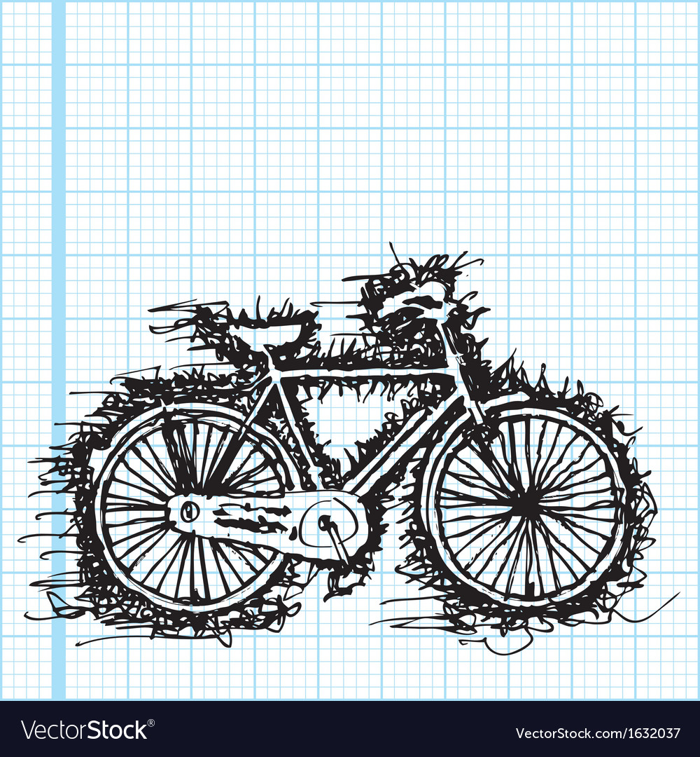 Sketch drawing of bicycle on graph paper vector | Price: 1 Credit (USD $1)