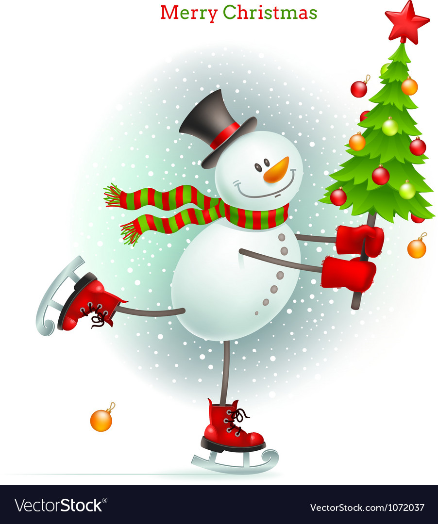 Smiling snowman with christmas tree vector | Price: 3 Credit (USD $3)