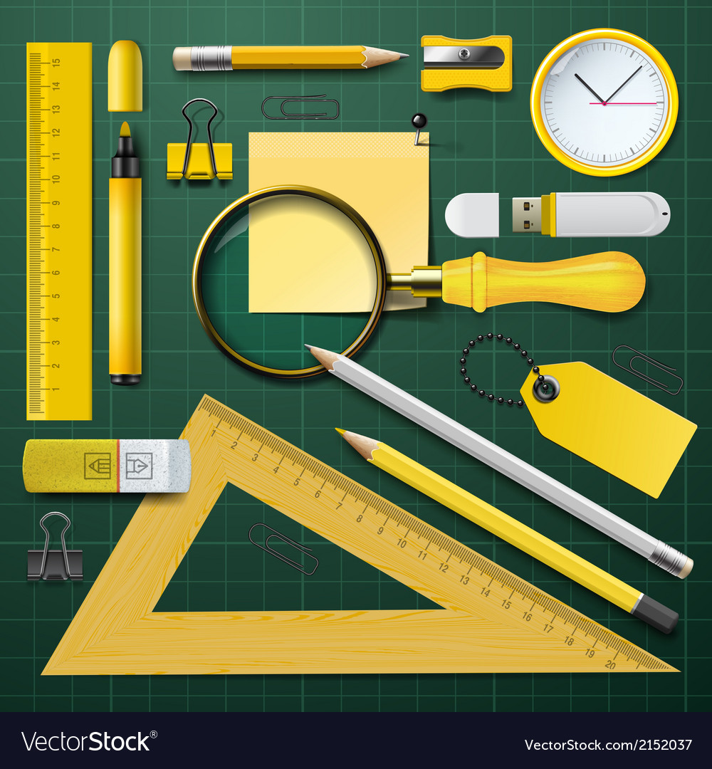 Yellow school supplies with green background vector | Price: 1 Credit (USD $1)