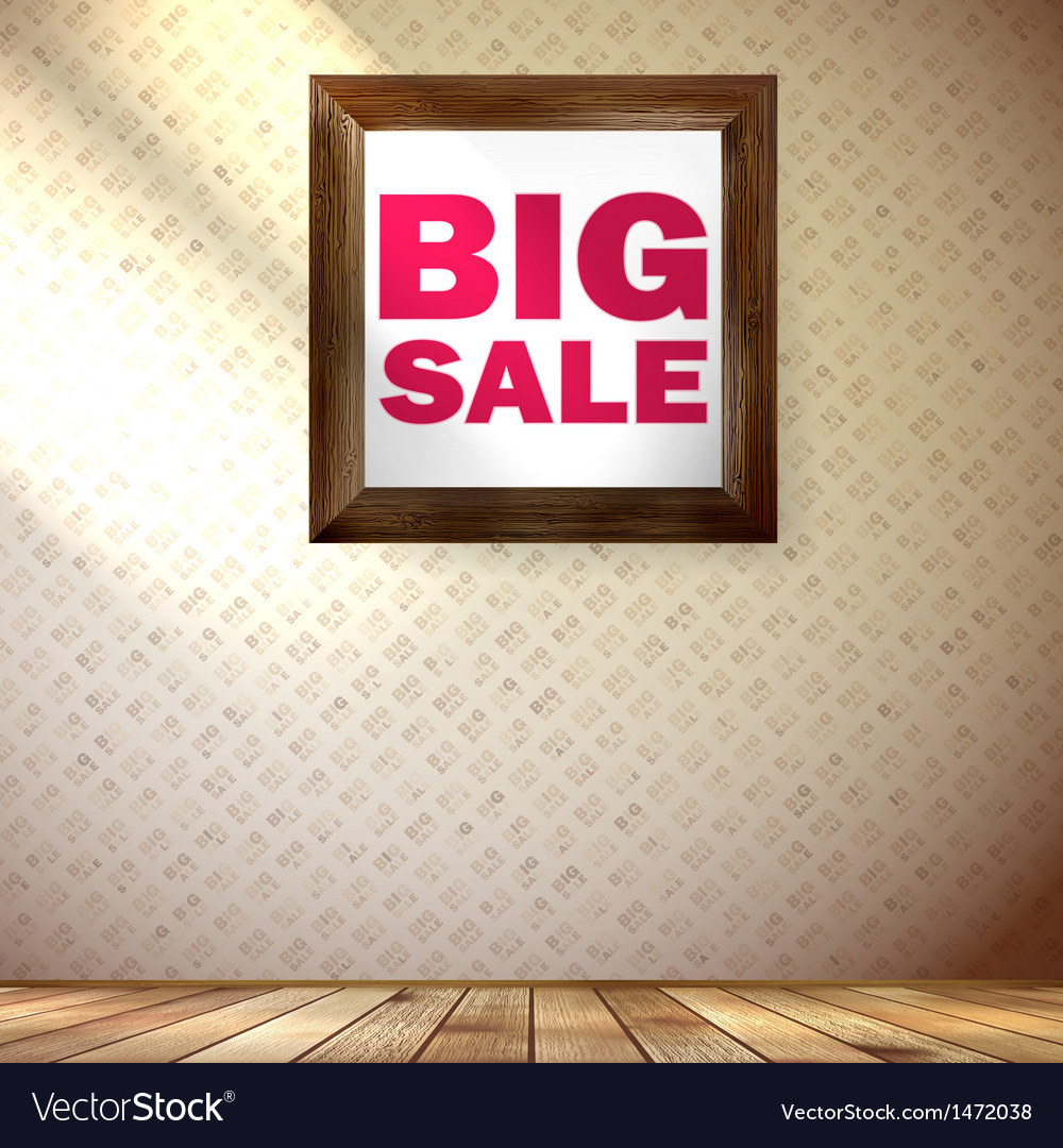 Beige wall wooden floor with big sale frame vector | Price: 1 Credit (USD $1)