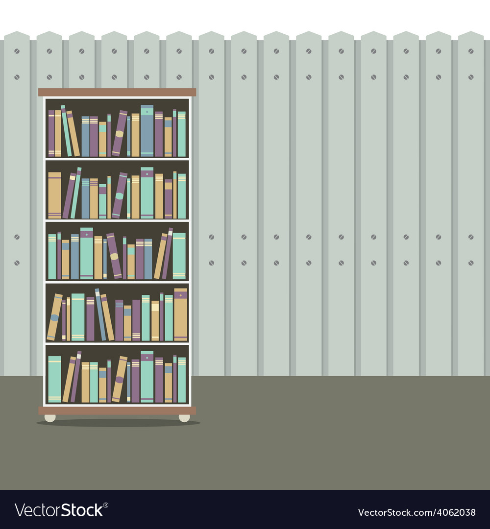 Bookcase with wooden background vintage style vector | Price: 1 Credit (USD $1)