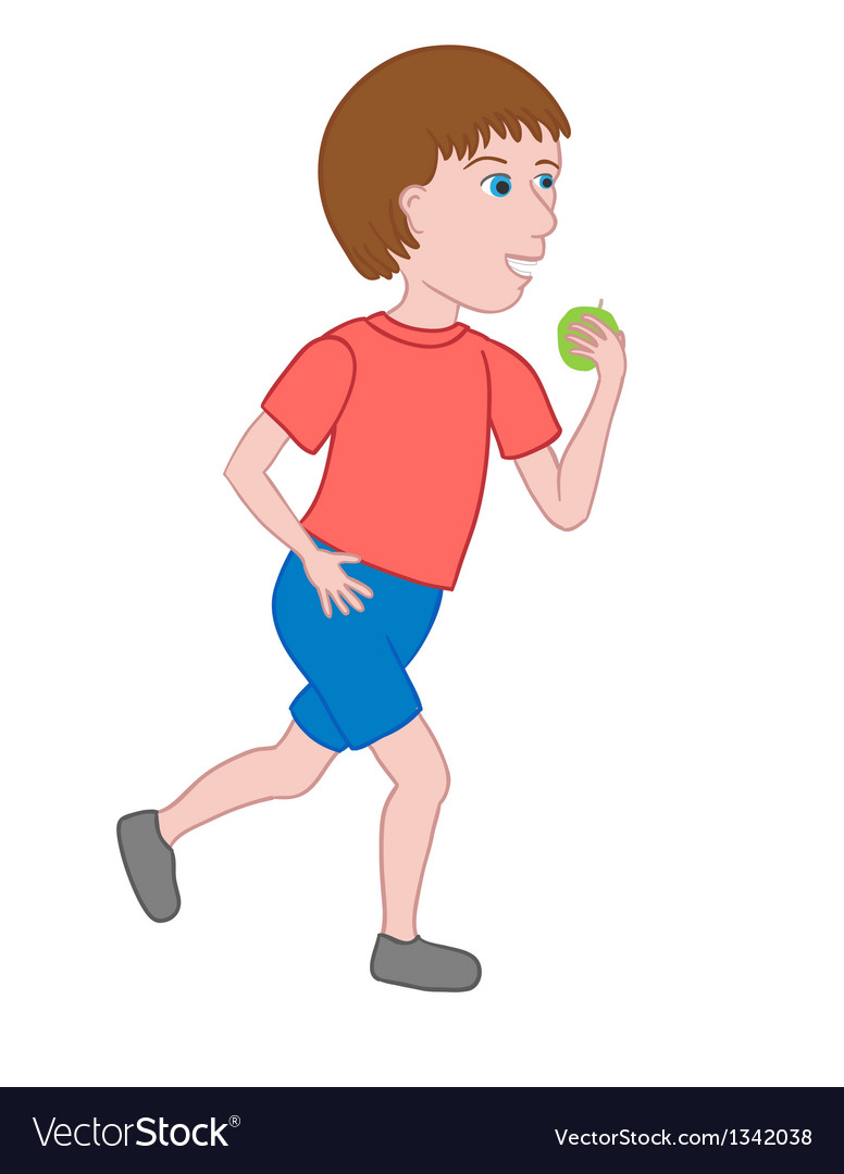Boy walking and eating an apple vector | Price: 1 Credit (USD $1)