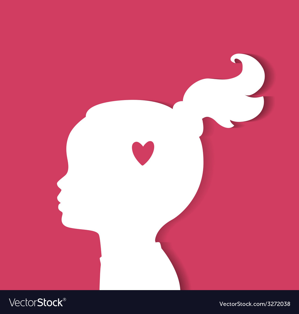 Child head with heart vector | Price: 1 Credit (USD $1)