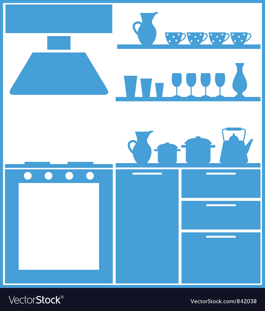 Kitchen silhouette vector | Price: 1 Credit (USD $1)