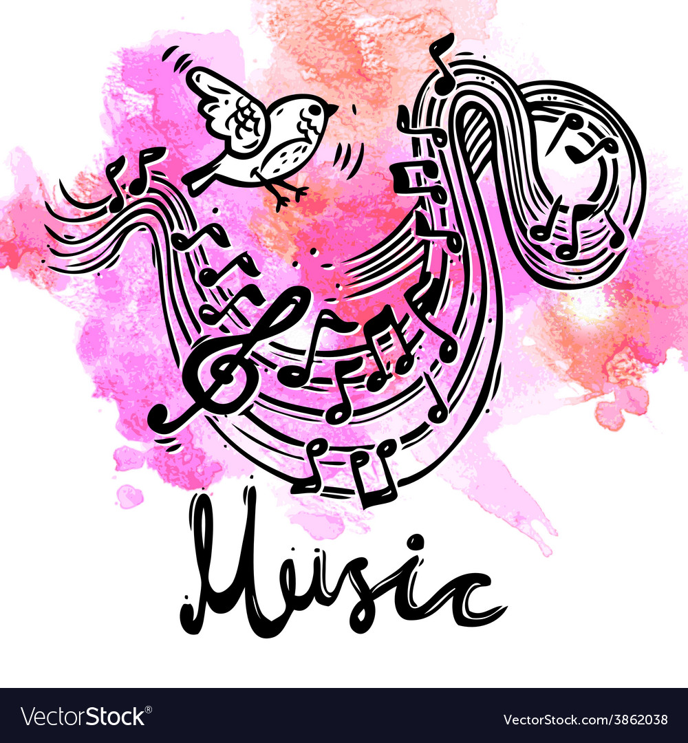 Music sketch background vector | Price: 1 Credit (USD $1)