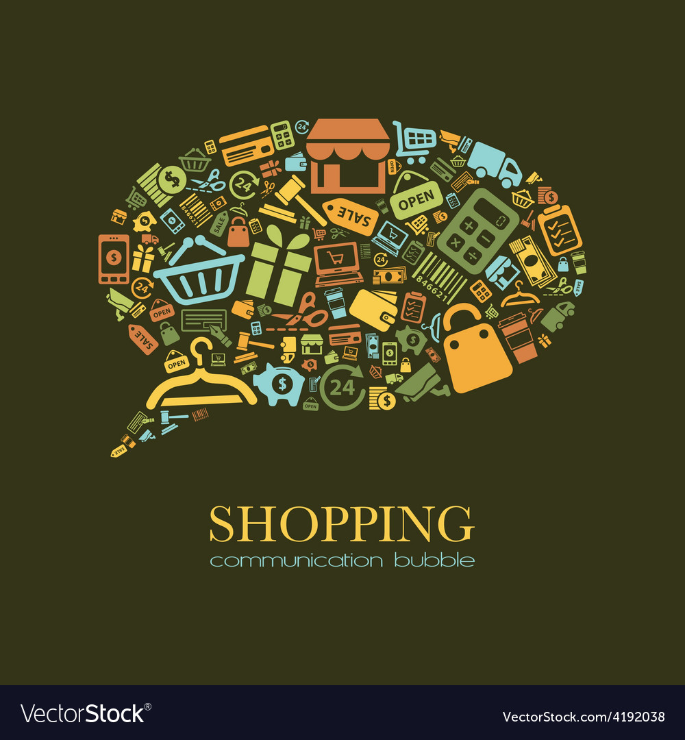 Shopping communication bubble vector | Price: 1 Credit (USD $1)