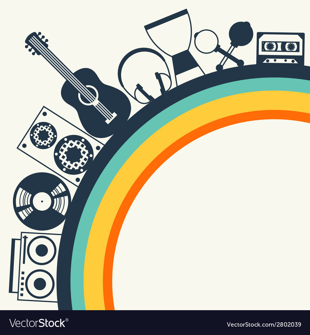 Background with musical instruments in flat design vector | Price: 1 Credit (USD $1)