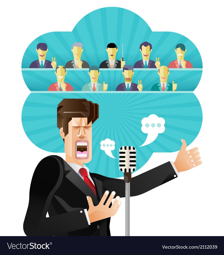 Businessman speeching vector | Price: 3 Credit (USD $3)