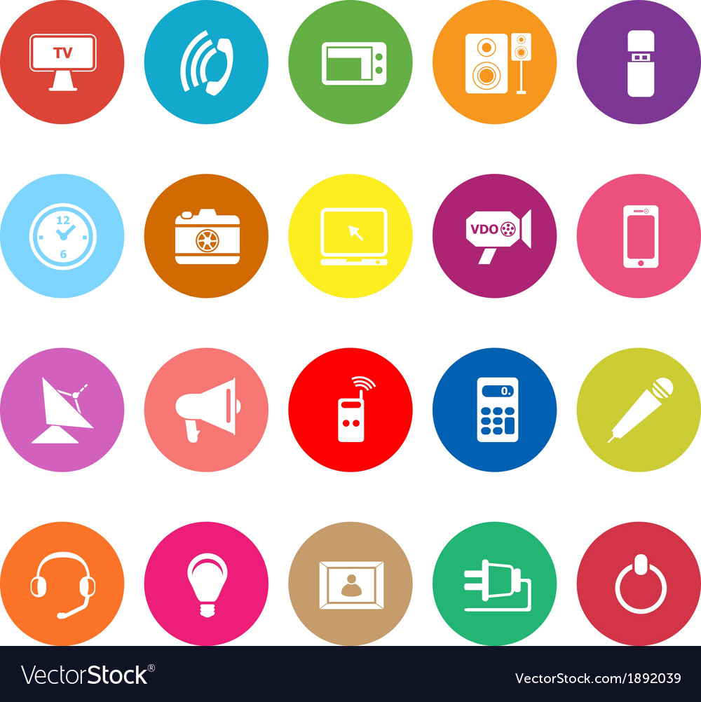 Electronic flat icons on white background vector | Price: 1 Credit (USD $1)