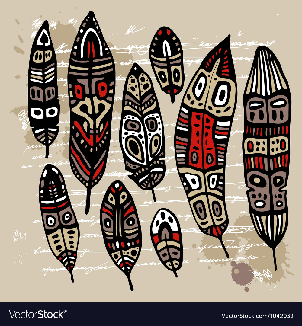 Ethnic feather set vector | Price: 1 Credit (USD $1)