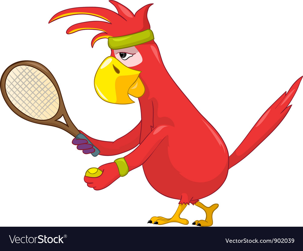 Funny parrot tennis vector | Price: 3 Credit (USD $3)