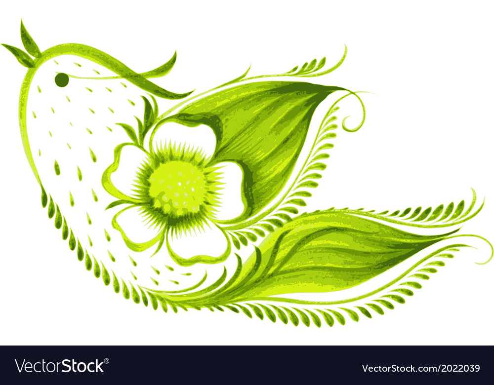 Green bird of with flowers and leaves tea vector   Price: 1 Credit (USD $1)