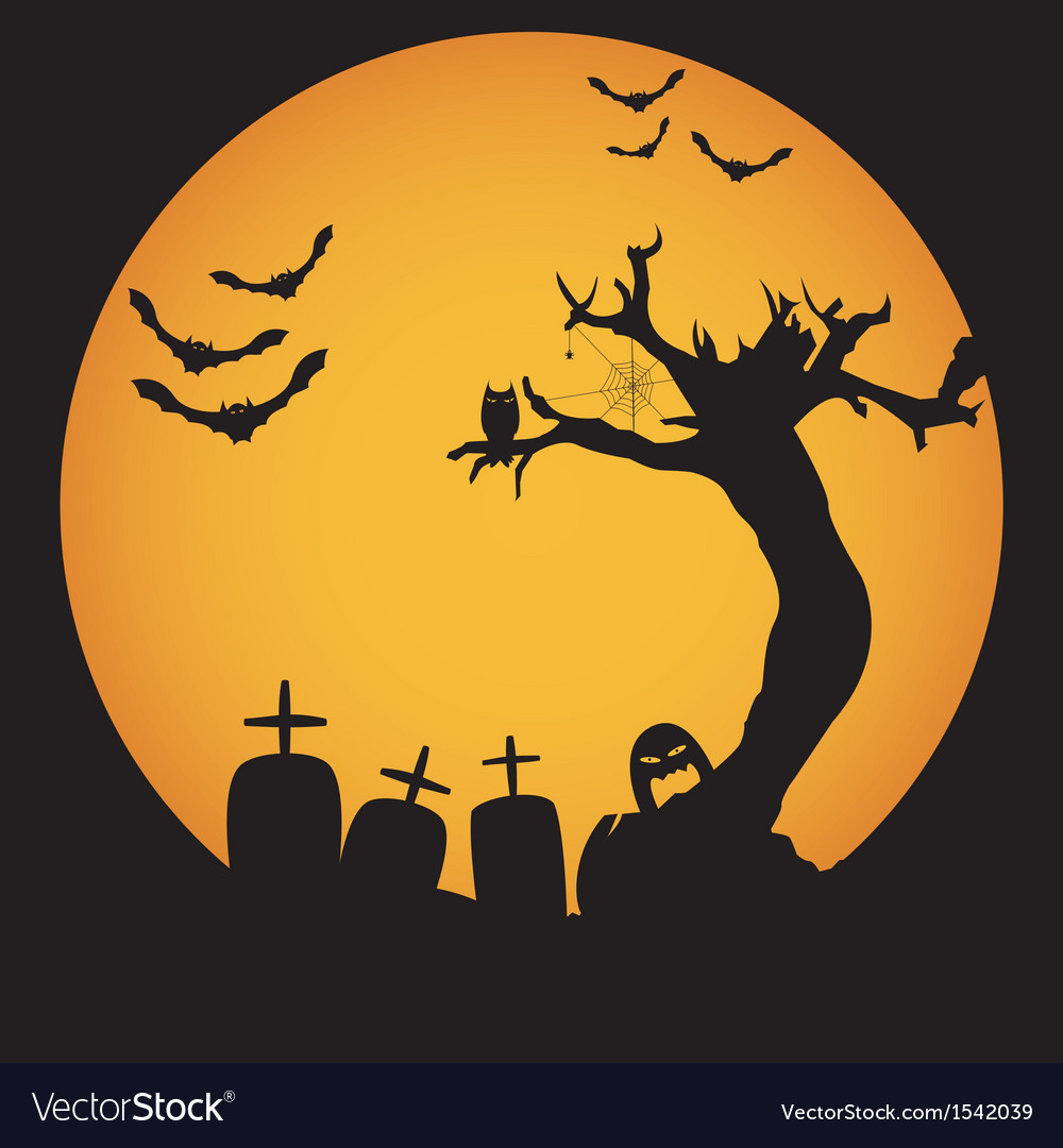 Grunge halloween night background vector | Price: 1 Credit (USD $1)