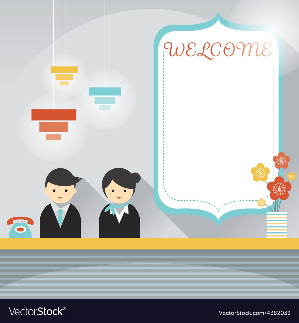 Male and female hotel receptionist frame element vector | Price: 1 Credit (USD $1)