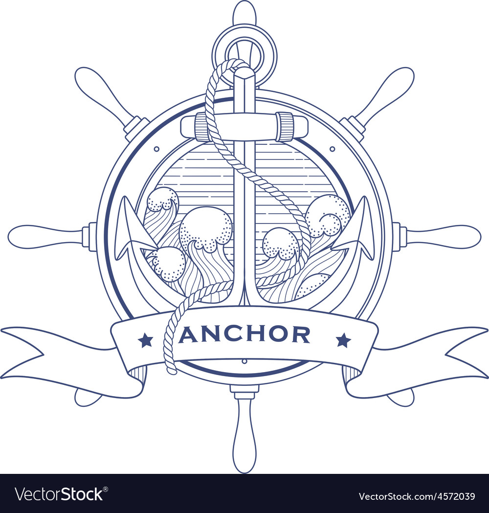 Nautical logo with a lighthouse and anchor vector