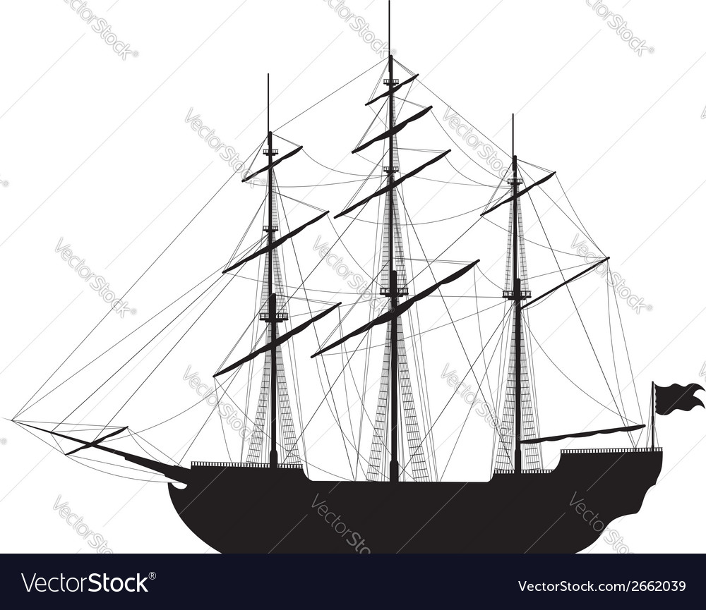 Sailing ship isolated on white background vector | Price: 1 Credit (USD $1)