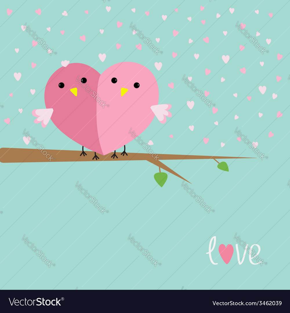 Two birds in shape of half heart sitting on tree vector | Price: 1 Credit (USD $1)