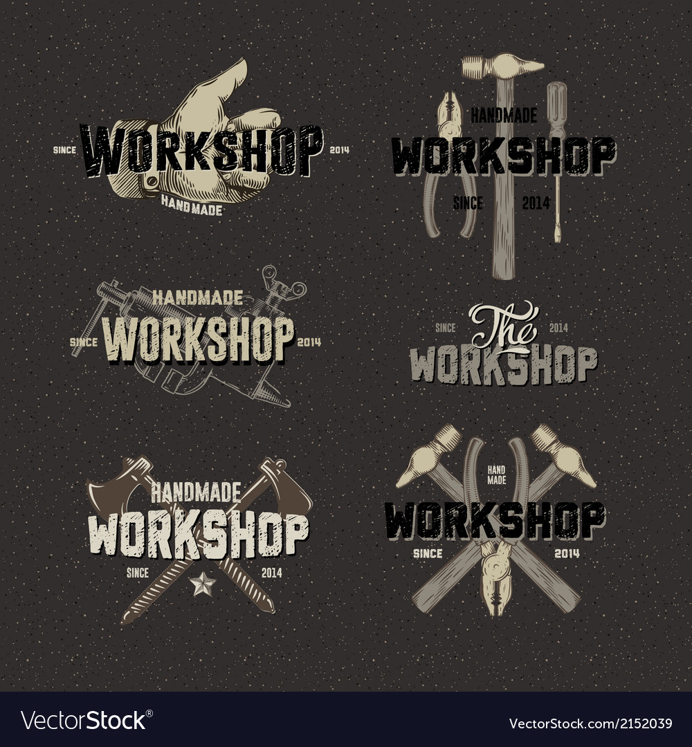 Vintage workshop conceptual labels vector | Price: 1 Credit (USD $1)