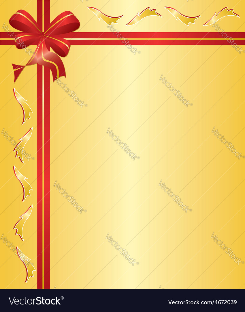 Yellow card with red ribbon vector | Price: 1 Credit (USD $1)