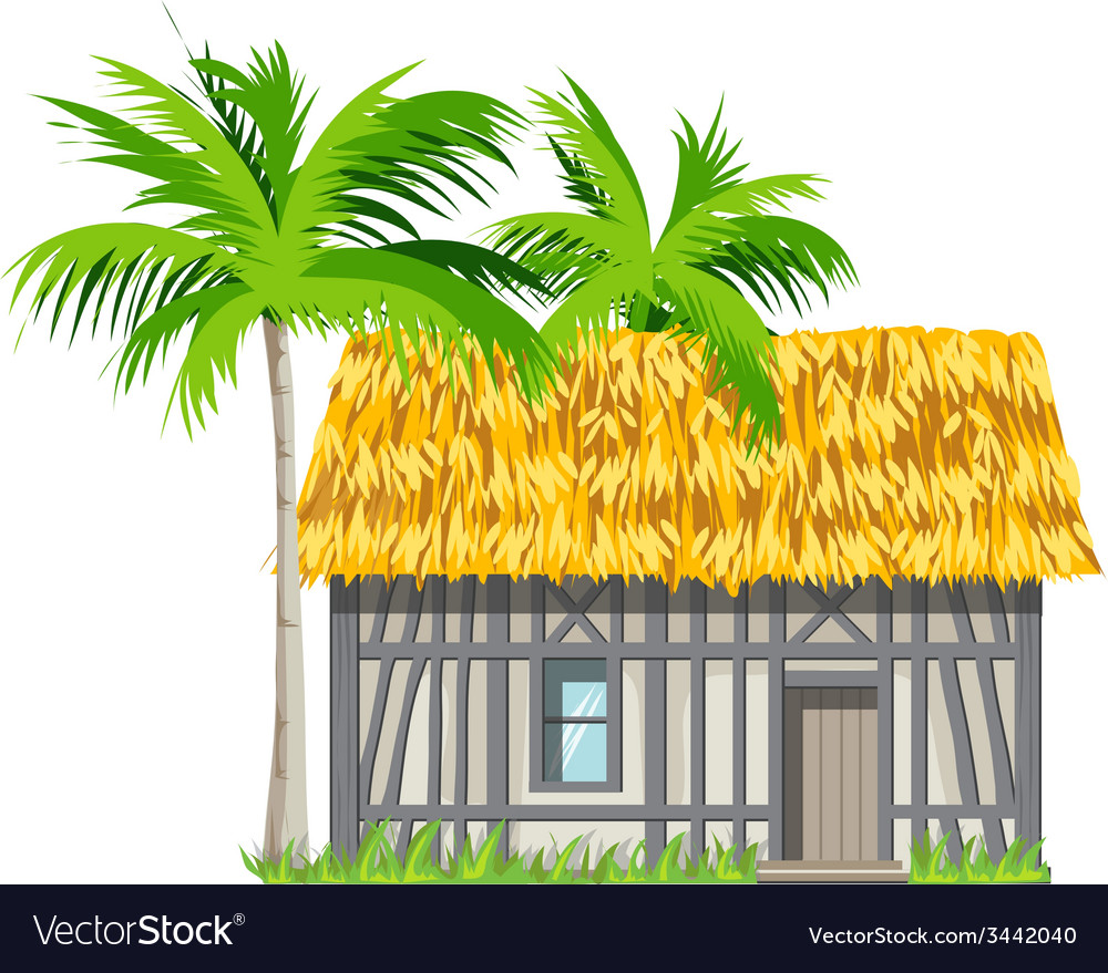 A house with a thatched roof and palm trees vector | Price: 3 Credit (USD $3)