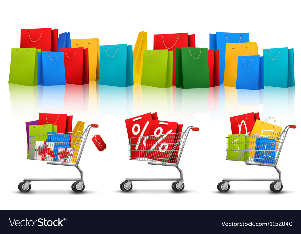 Background with shopping color bags and shopping vector | Price: 1 Credit (USD $1)