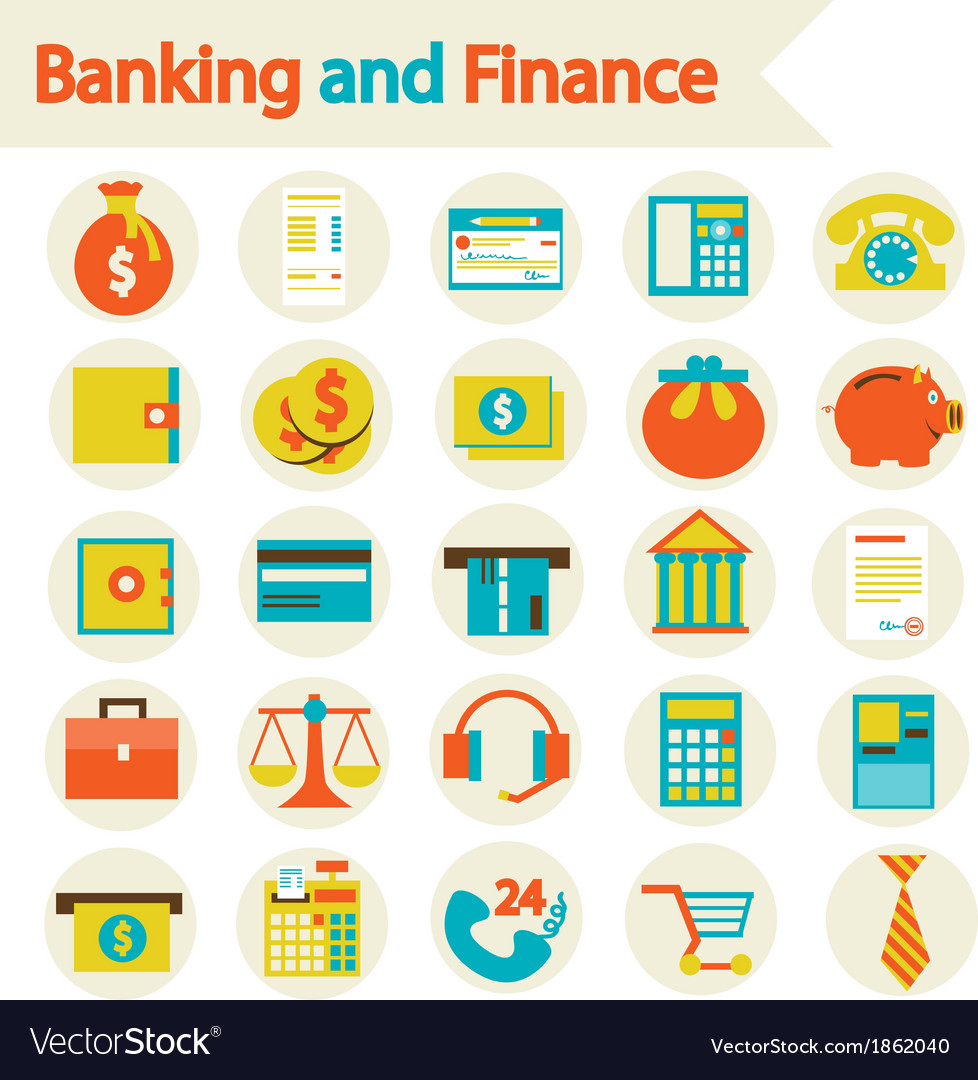 Banking and finance set icons vector | Price: 1 Credit (USD $1)